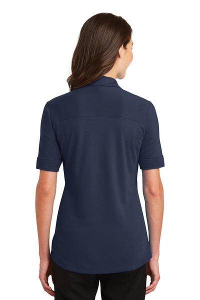 Port Authority L5200 Womens Silk Touch Performance Moisture Wicking Short Sleeve Polo Shirt Navy Blue Back