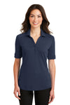 Port Authority L5200 Womens Silk Touch Performance Moisture Wicking Short Sleeve Polo Shirt Navy Blue Front