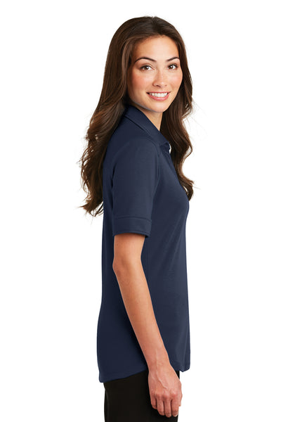 Port Authority L5200 Womens Silk Touch Performance Moisture Wicking Short Sleeve Polo Shirt Navy Blue Side