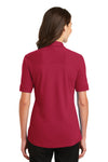 Port Authority L5200 Womens Silk Touch Performance Moisture Wicking Short Sleeve Polo Shirt Red Back