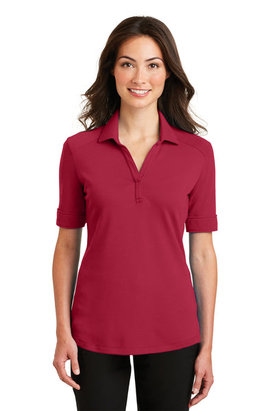 Port Authority L5200 Womens Silk Touch Performance Moisture Wicking Short Sleeve Polo Shirt Red Front