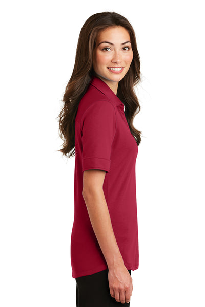 Port Authority L5200 Womens Silk Touch Performance Moisture Wicking Short Sleeve Polo Shirt Red Side