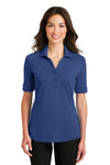 Port Authority L5200 Womens Silk Touch Performance Moisture Wicking Short Sleeve Polo Shirt Royal Blue Front