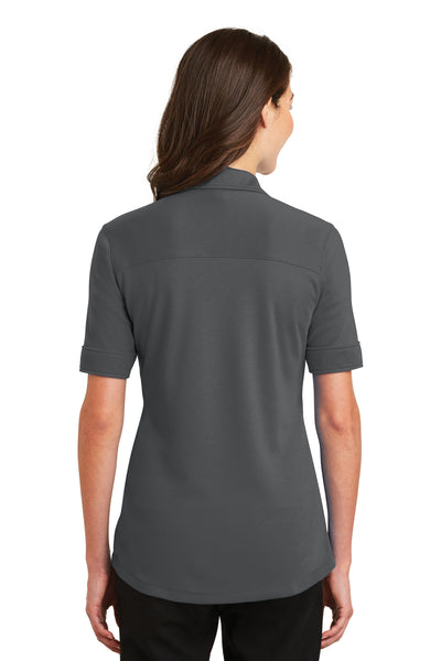 Port Authority L5200 Womens Silk Touch Performance Moisture Wicking Short Sleeve Polo Shirt Sterling Grey Back