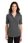 Port Authority L5200 Womens Silk Touch Performance Moisture Wicking Short Sleeve Polo Shirt Sterling Grey Front