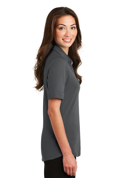 Port Authority L5200 Womens Silk Touch Performance Moisture Wicking Short Sleeve Polo Shirt Sterling Grey Side