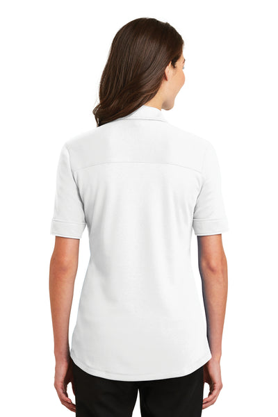 Port Authority L5200 Womens Silk Touch Performance Moisture Wicking Short Sleeve Polo Shirt White Back