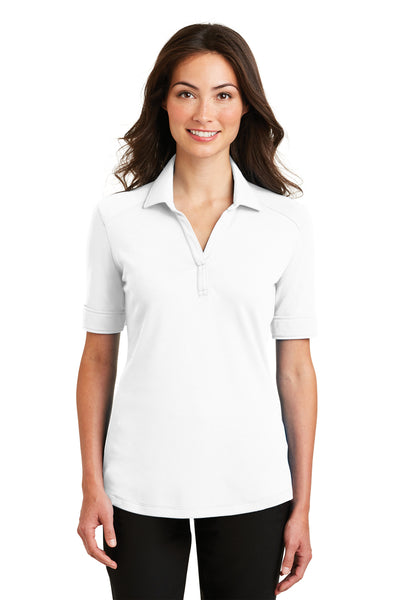 Port Authority L5200 Womens Silk Touch Performance Moisture Wicking Short Sleeve Polo Shirt White Front