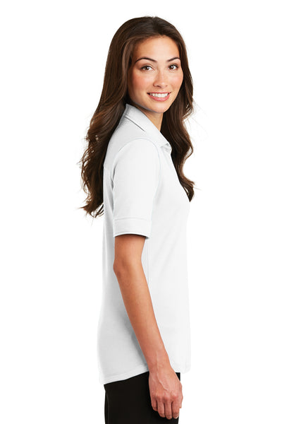 Port Authority L5200 Womens Silk Touch Performance Moisture Wicking Short Sleeve Polo Shirt White Side