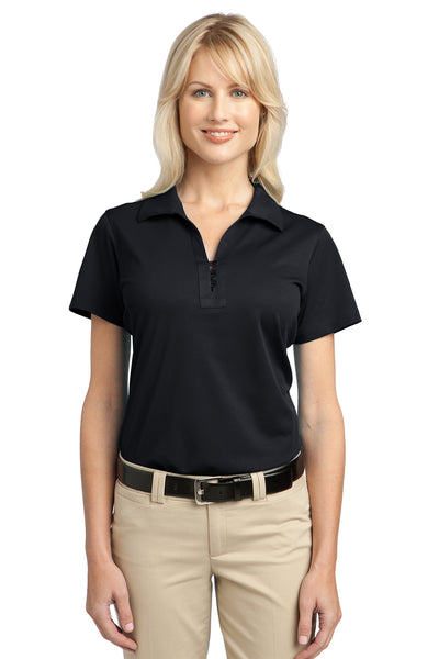 Port Authority L527 Womens Tech Moisture Wicking Short Sleeve Polo Shirt Black Front
