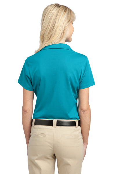 Port Authority L527 Womens Tech Moisture Wicking Short Sleeve Polo Shirt Teal Blue Back