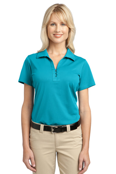 Port Authority L527 Womens Tech Moisture Wicking Short Sleeve Polo Shirt Teal Blue Front