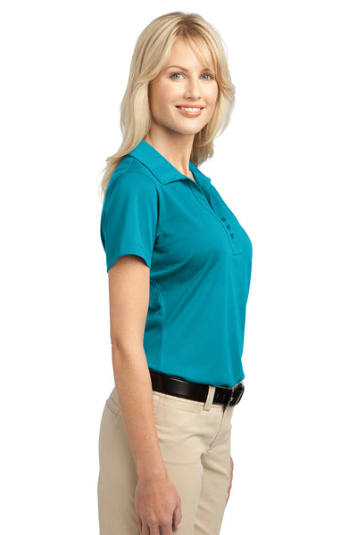 Port Authority L527 Womens Tech Moisture Wicking Short Sleeve Polo Shirt Teal Blue Side