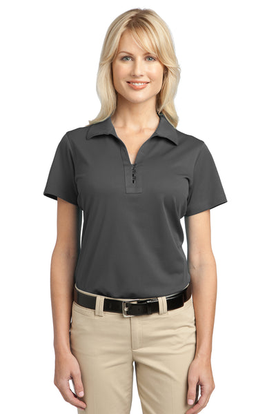 Port Authority L527 Womens Tech Moisture Wicking Short Sleeve Polo Shirt Smoke Grey Front