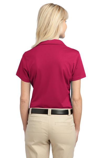 Port Authority L527 Womens Tech Moisture Wicking Short Sleeve Polo Shirt Raspberry Pink Back