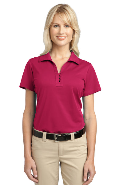Port Authority L527 Womens Tech Moisture Wicking Short Sleeve Polo Shirt Raspberry Pink Front