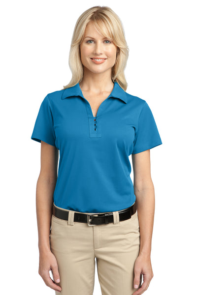 Port Authority L527 Womens Tech Moisture Wicking Short Sleeve Polo Shirt Vivid Blue Front