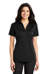 Port Authority L540 Womens Silk Touch Performance Moisture Wicking Short Sleeve Polo Shirt Black Front