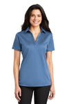 Port Authority L540 Womens Silk Touch Performance Moisture Wicking Short Sleeve Polo Shirt Carolina Blue Front