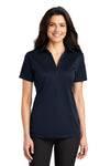 Port Authority L540 Womens Silk Touch Performance Moisture Wicking Short Sleeve Polo Shirt Navy Blue Front