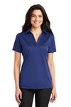 Port Authority L540 Womens Silk Touch Performance Moisture Wicking Short Sleeve Polo Shirt Royal Blue Front
