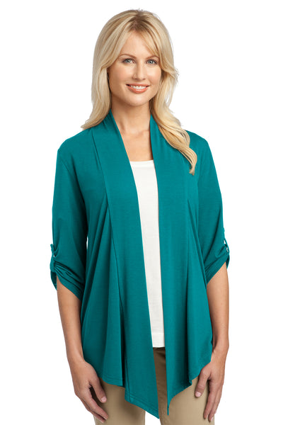 Port Authority L543 Womens Concept Shrug Teal Green Front