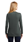 Port Authority L545 Womens Concept Long Sleeve Cardigan Sweater Smoke Grey Back