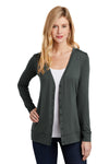 Port Authority L545 Womens Concept Long Sleeve Cardigan Sweater Smoke Grey Front