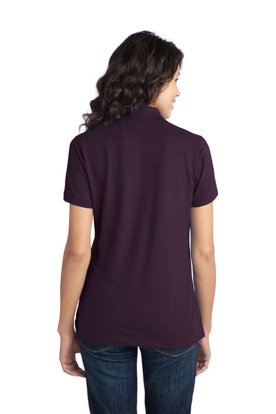 Port Authority L555 Womens Moisture Wicking Short Sleeve Polo Shirt Purple Back
