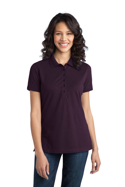 Port Authority L555 Womens Moisture Wicking Short Sleeve Polo Shirt Purple Front