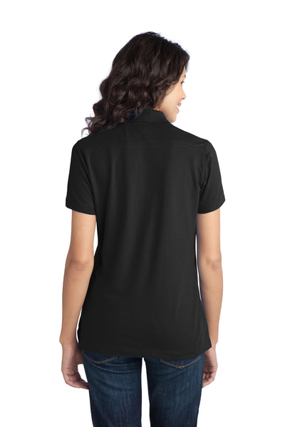 Port Authority L555 Womens Moisture Wicking Short Sleeve Polo Shirt Black Back