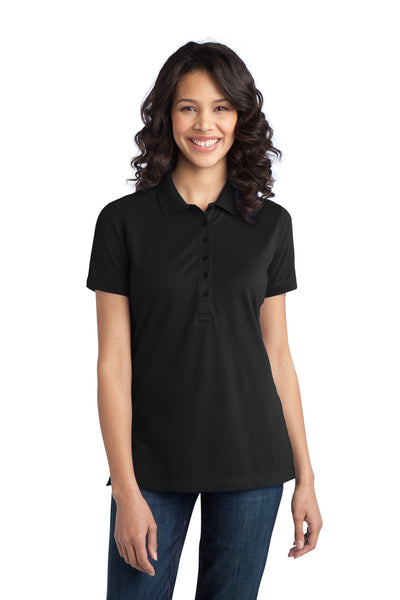 Port Authority L555 Womens Moisture Wicking Short Sleeve Polo Shirt Black Front