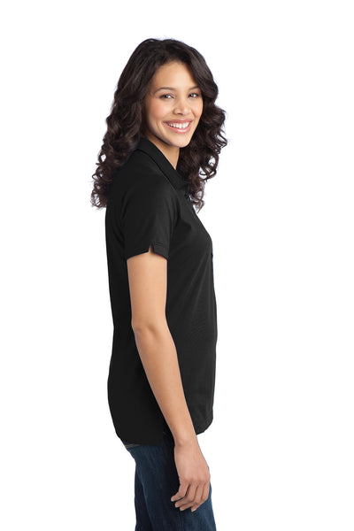 Port Authority L555 Womens Moisture Wicking Short Sleeve Polo Shirt Black Side