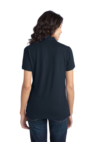 Port Authority L555 Womens Moisture Wicking Short Sleeve Polo Shirt Navy Blue Back