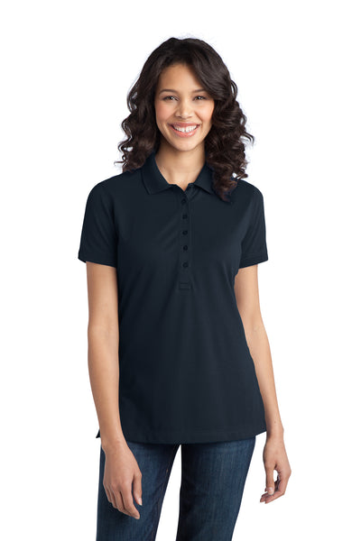Port Authority L555 Womens Moisture Wicking Short Sleeve Polo Shirt Navy Blue Front