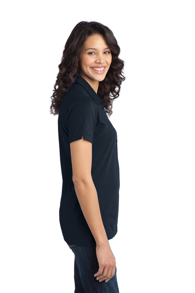 Port Authority L555 Womens Moisture Wicking Short Sleeve Polo Shirt Navy Blue Side