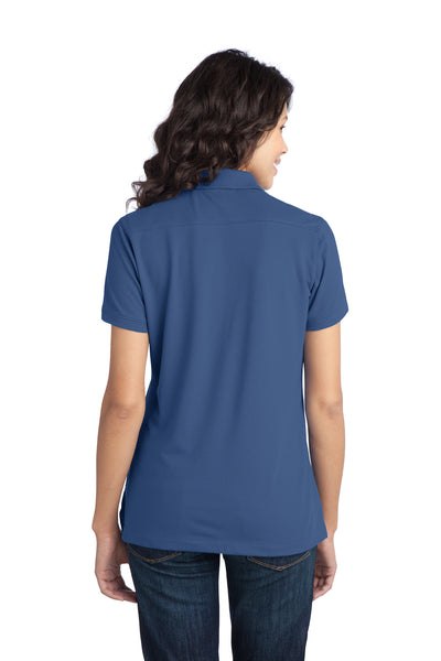 Port Authority L555 Womens Moisture Wicking Short Sleeve Polo Shirt Moonlight Blue Back