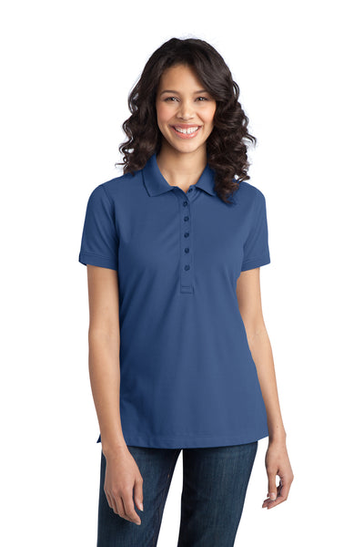 Port Authority L555 Womens Moisture Wicking Short Sleeve Polo Shirt Moonlight Blue Front