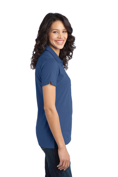 Port Authority L555 Womens Moisture Wicking Short Sleeve Polo Shirt Moonlight Blue Side