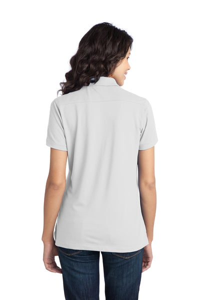 Port Authority L555 Womens Moisture Wicking Short Sleeve Polo Shirt White Back