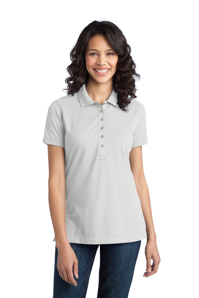 Port Authority L555 Womens Moisture Wicking Short Sleeve Polo Shirt White Front