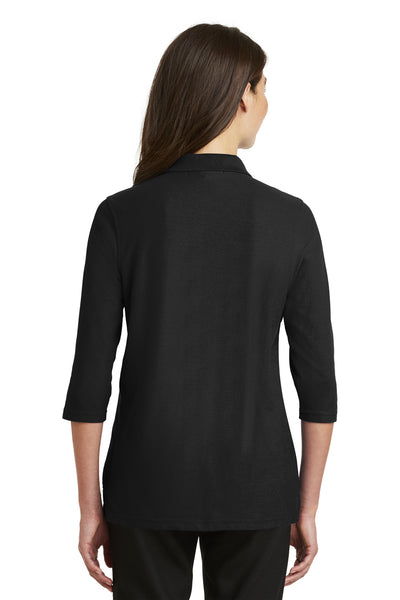 Port Authority L562 Womens Silk Touch 3/4 Sleeve Polo Shirt Black Back
