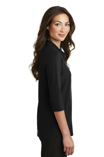 Port Authority L562 Womens Silk Touch 3/4 Sleeve Polo Shirt Black Side