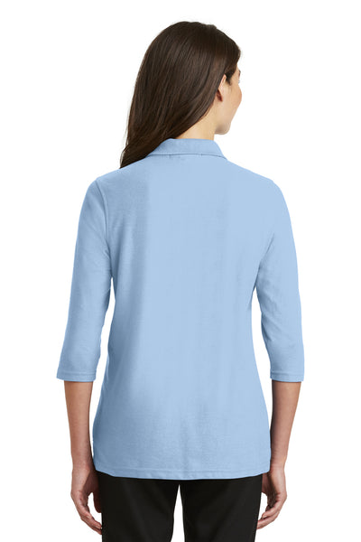 Port Authority L562 Womens Silk Touch 3/4 Sleeve Polo Shirt Light Blue Back