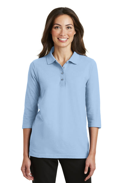 Port Authority L562 Womens Silk Touch 3/4 Sleeve Polo Shirt Light Blue Front