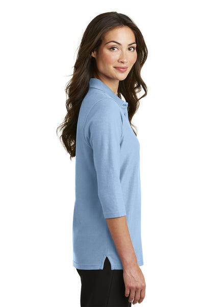 Port Authority L562 Womens Silk Touch 3/4 Sleeve Polo Shirt Light Blue Side