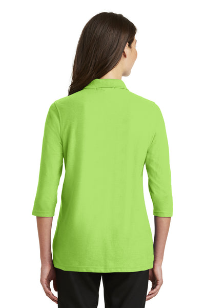 Port Authority L562 Womens Silk Touch 3/4 Sleeve Polo Shirt Lime Green Back