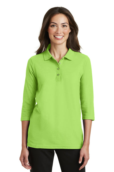 Port Authority L562 Womens Silk Touch 3/4 Sleeve Polo Shirt Lime Green Front