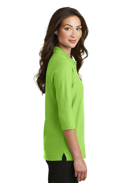Port Authority L562 Womens Silk Touch 3/4 Sleeve Polo Shirt Lime Green Side