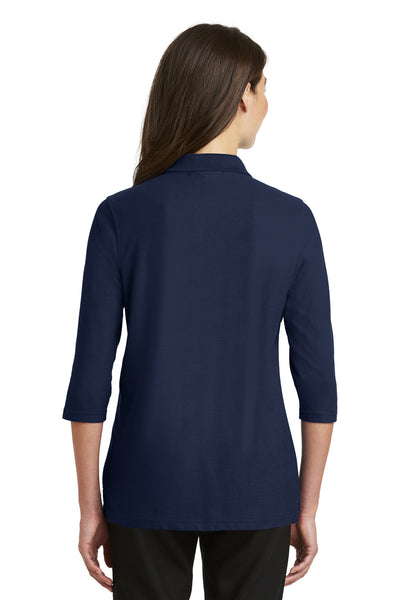Port Authority L562 Womens Silk Touch 3/4 Sleeve Polo Shirt Navy Blue Back